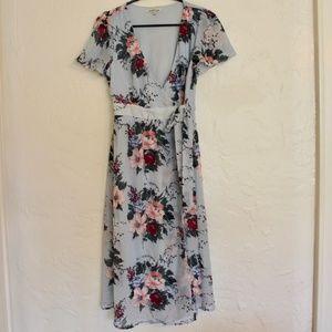 Charlotte Russe flutter sleeves, wrap dress